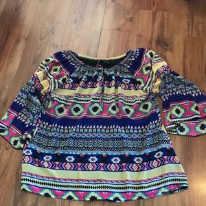 New Directions Tribal Print Bell Sleeve Blouse